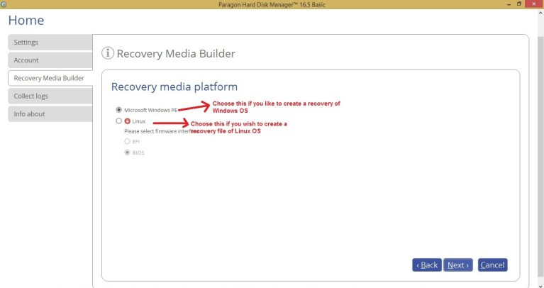 Paragon HDM recovery media choose media