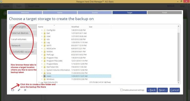 Paragon HDM tools backup select target