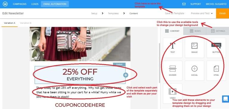 Wishpond email newsletter template design