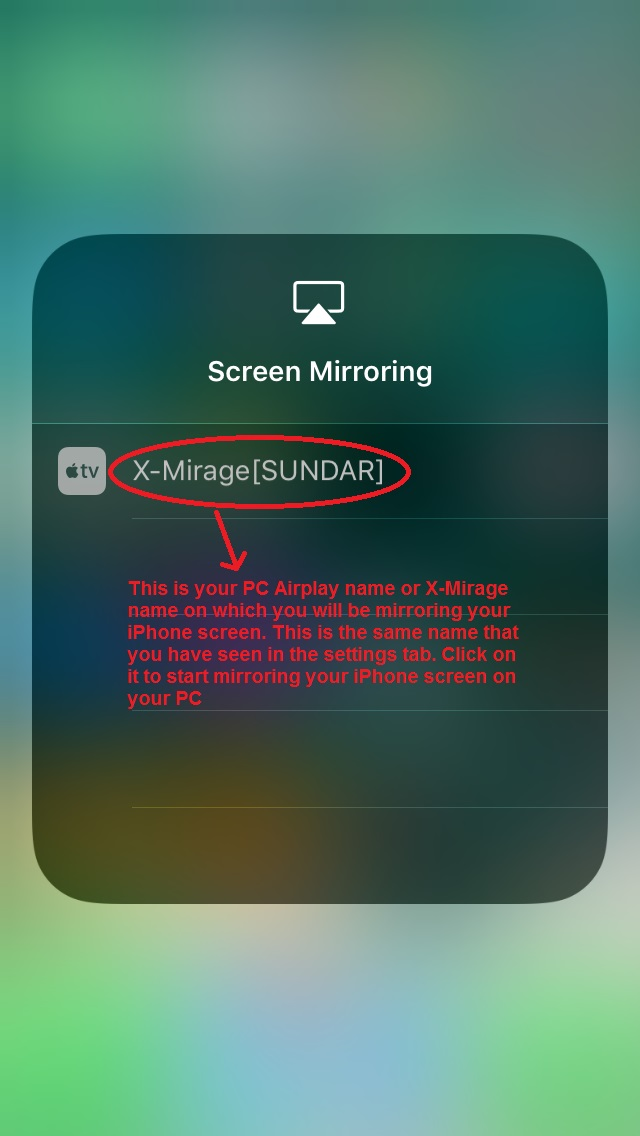 X-Mirage iPhone select airplay