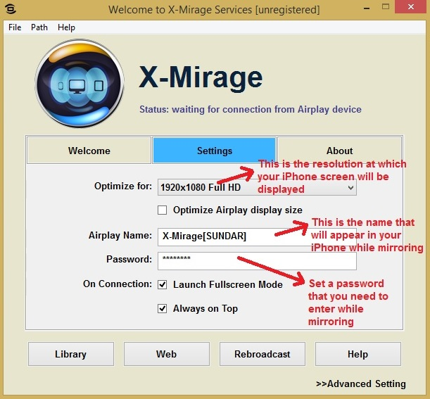 X-Mirage settings