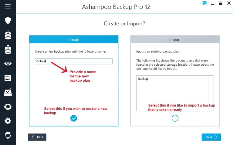 Ashampoo Backup select backup or create