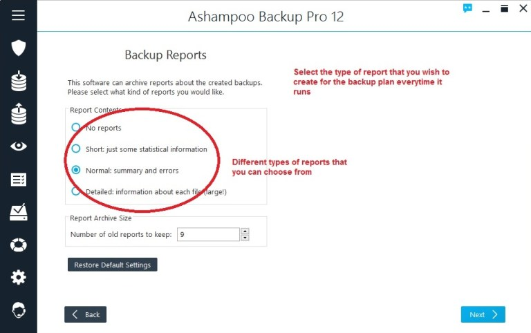 Ashampoo Backup select backup reports