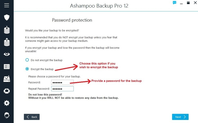 Ashampoo Backup select encryption