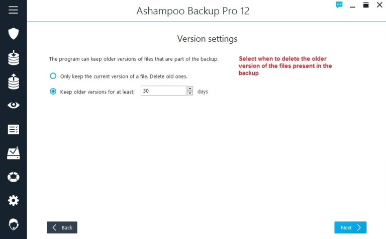 Ashampoo Backup select version settings