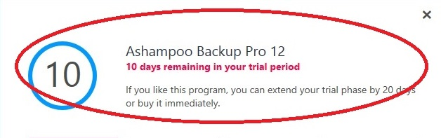 Ashampoo Backup trial limitation