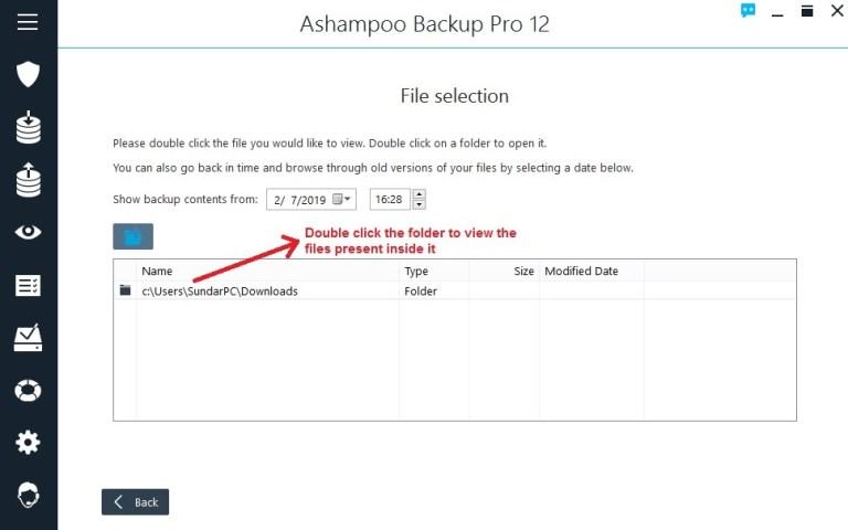 Ashampoo Backup view backup open folder