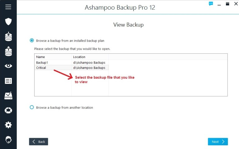 Ashampoo Backup view backup select