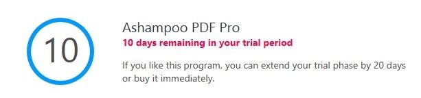 Ashampoo PDF Pro trial limitation