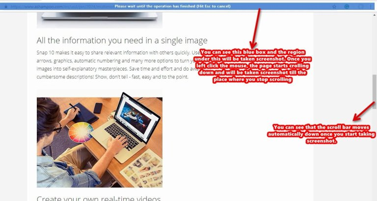 Ashampoo Snap screenshot scroll window