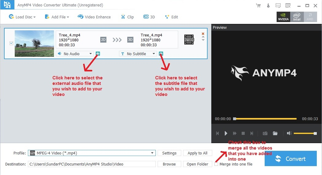Add external audio and subtitle file