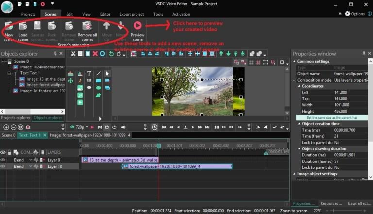 VSDC Video Editor scenes