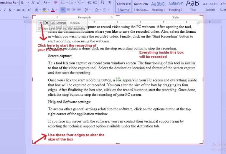 VSDC Video Editor screen capture alter box size