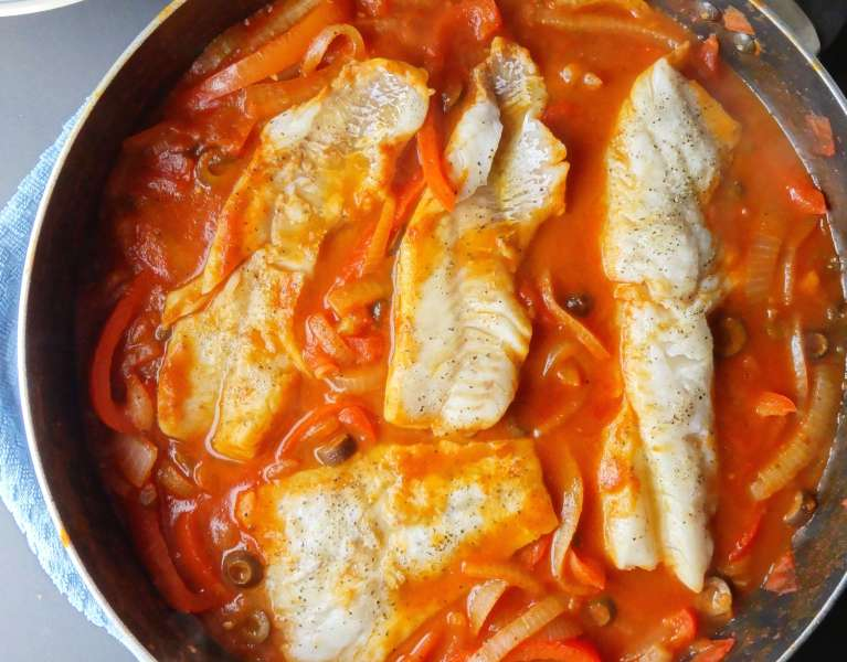 One Skillet Cod Veracruz is a no fuss meal that will impress! From The Cheerful Kitchen