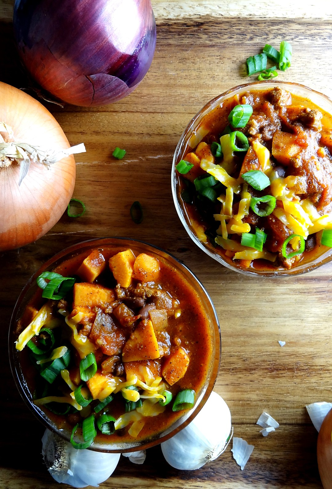 Slow Cooker Chili with Sweet Potatoes & Ground Beef is smoky and delicious. An easy weeknight dinner idea! Get the recipe from The Cheerful Kitchen