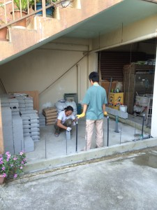 Hiroshi and his son working on the new cheese factory