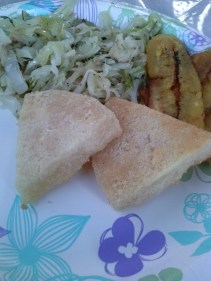 Cabbage & Saltfish with plantains and bammy