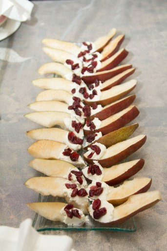 Red Pears with Honey Goat Cheese and Dried Cranberries