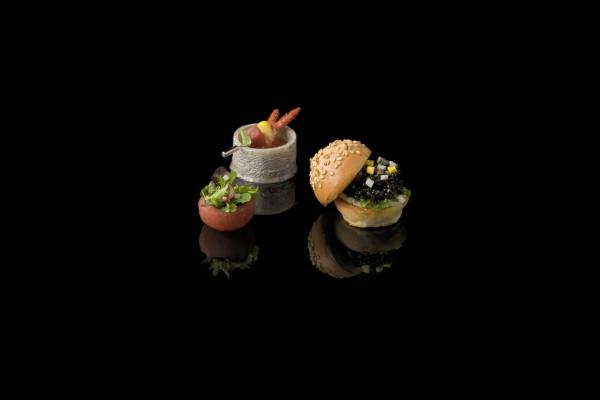 Caviar Burger, Tomato Salad and Lobster Boil by John Greely, from the Small Things Savory eBook, Photo by Battman