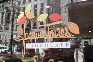 Window art at Jacques Torres Chocolate. Photo by Kara Chin.