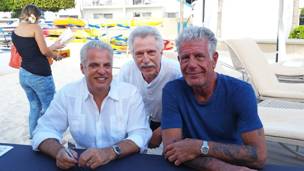 Battman with Eric Ripert and Anthony Bourdain.