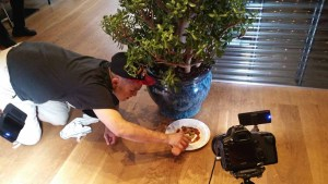 Eric Kwan assembling his dish for photo shoot with Battman.