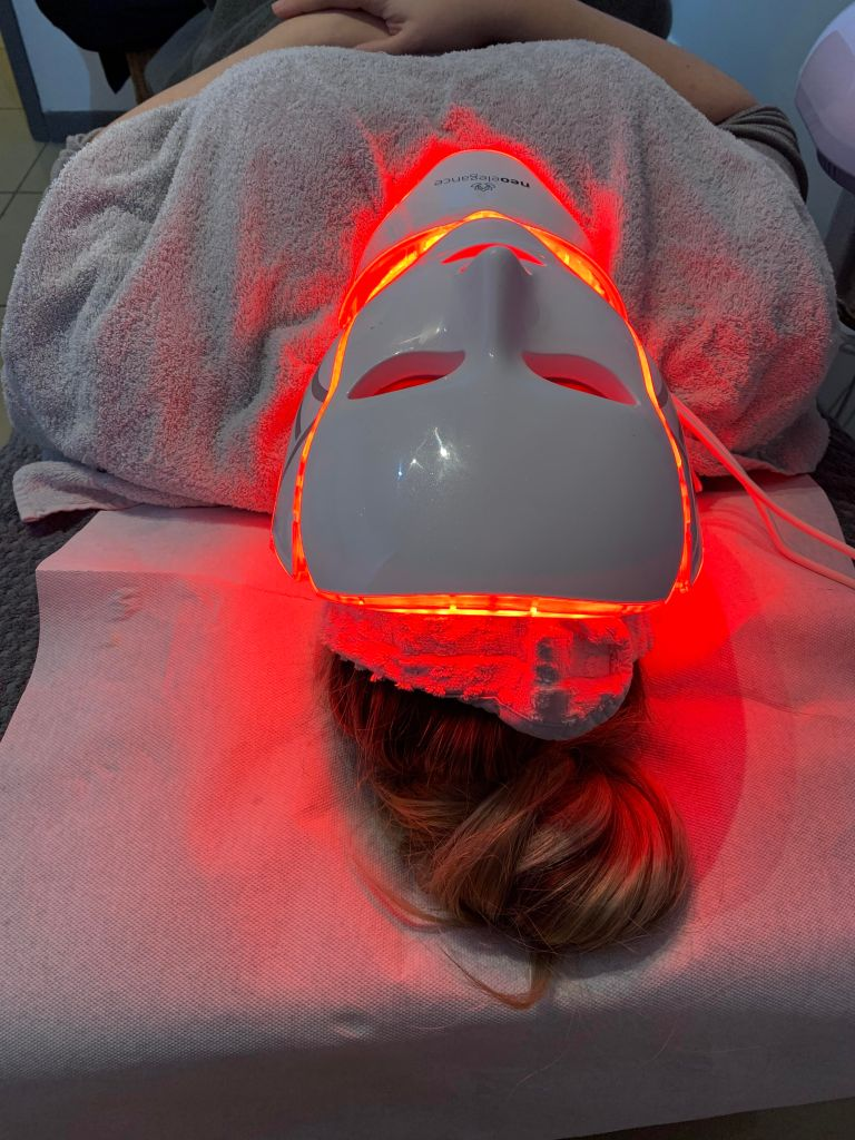 LED mask being used