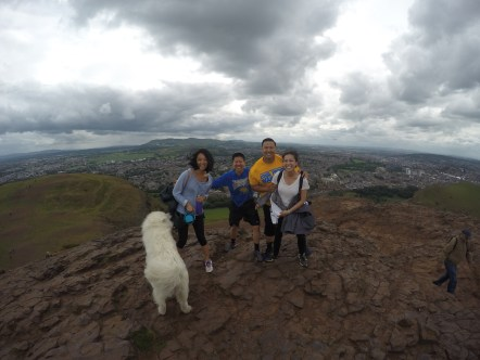 Here is Blue not wanting to take a picture on Arthur's Seat.