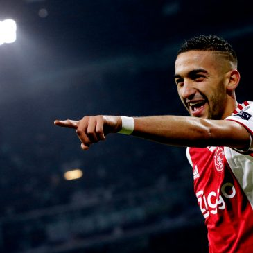 Hakim Ziyech celebrates after scoring against Real Madrid for Ajax in the UEFA Champions League in February 2019.