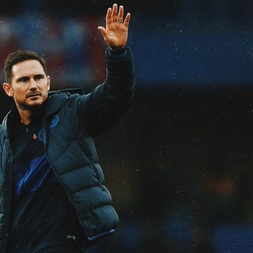 Chelsea Manager Frank Lampard acknowledges the fans.