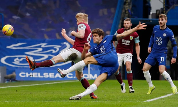 Marcos Alonso scoring Chelsea's second against Burnley, will he be involved against Spurs. (Photo by JULIAN FINNEY/POOL/AFP via Getty Images)