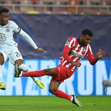 Callum Hudson-Odoi trying to make a breakthrough against Atletico Madrid