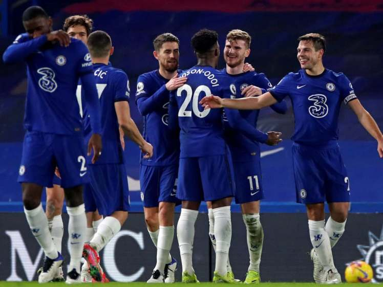 The Chelsea team celebrates Timo Werners goal against Newcastle United