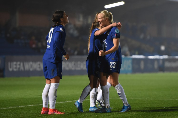 Fran Kirby, Pernille Harder and Sam Kerr celebrate together in the UWCL. Will they be the key players in Chelsea vs FC Barcelona?