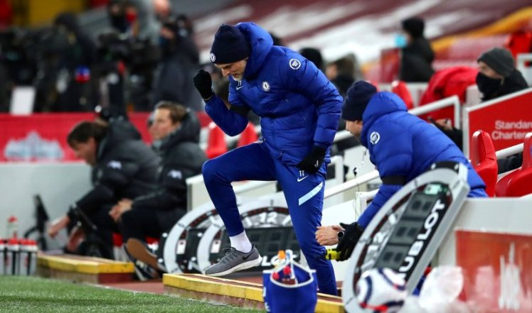 Thomas Tuchel celebrating Chelsea's victory against Liverpool