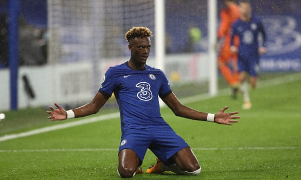 Abraham celebrates helping Chelsea to a much needed victory over West Ham. (Photo by CLIVE ROSE/POOL/AFP via Getty Images)