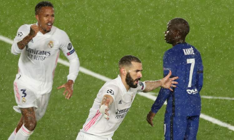 Karim Benzema celebrates making it Real Madrid 1-1 Chelsea.