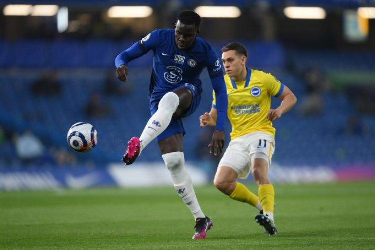 Kurt Zouma shoots from range but it remains Chelsea 0-0 Brighton.