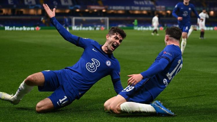 Finalists: Mason Mount and Christian Pulisic celebrate the winner against Real Madrid that secures a Final place. Credit   Getty Images