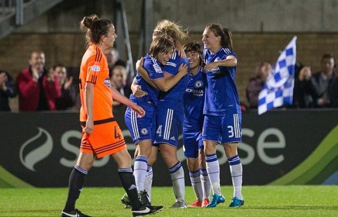 Fran Kirby scores the first ever Chelsea goal in the UEFA Women's Champions League.