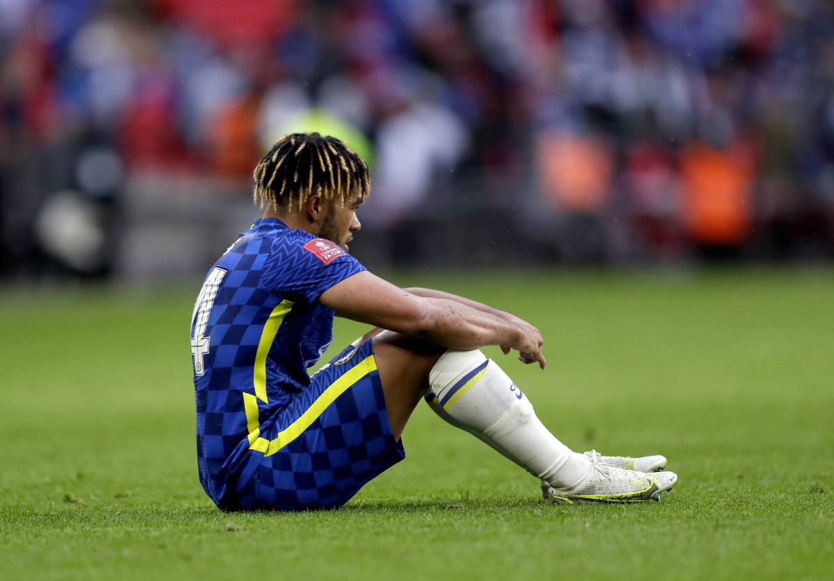 Reece James is dejected after the FA Cup Final loss to Leicester City.