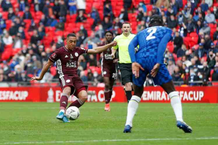 Tielemans scores a wonder strike, although should there have been a hand ball ruled in the build-up? Photograph: Getty Images