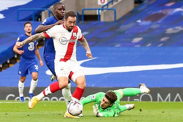 Danny Ings scores past Kepa Arrizabalaga at Stamford Bridge in October 2020.