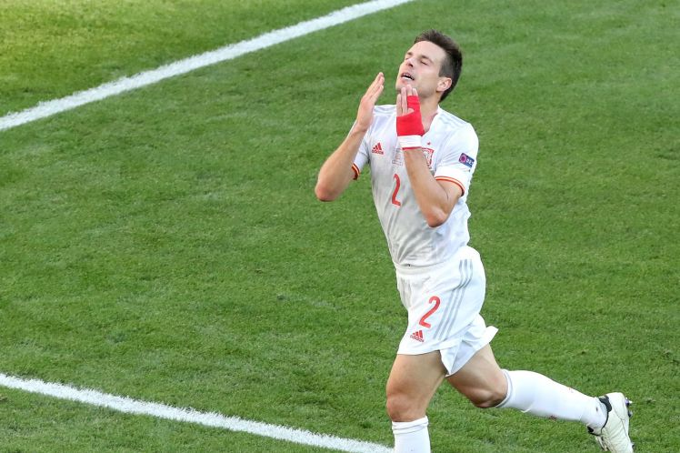 Azpilicueta celebrating Spain's goal in the Euro 2020 last 16 match against Croatia. (Photo by Goran Stanzl/Pixsell/MB Media/Getty Images)