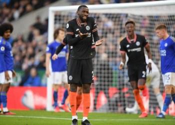 Antonio Rudiger celebrating against Leicester City