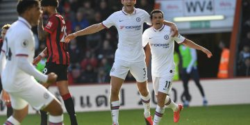 Alonso celebrating his goal against Bournemouth