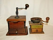 "Antique Wooden Coffee Mill Grinder Pair - 8 1/2"" x 8 1/2"" & 6"" x 6"" x 7"""