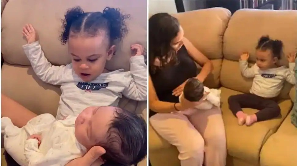 Its a baby! Toddlers reaction to her newborn brother leaves netizens in splits- Watch viral video