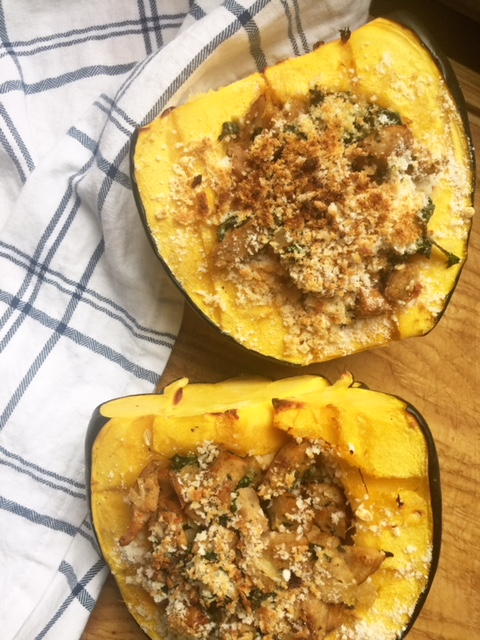 acorn squash with chicken sausage and kale recipe