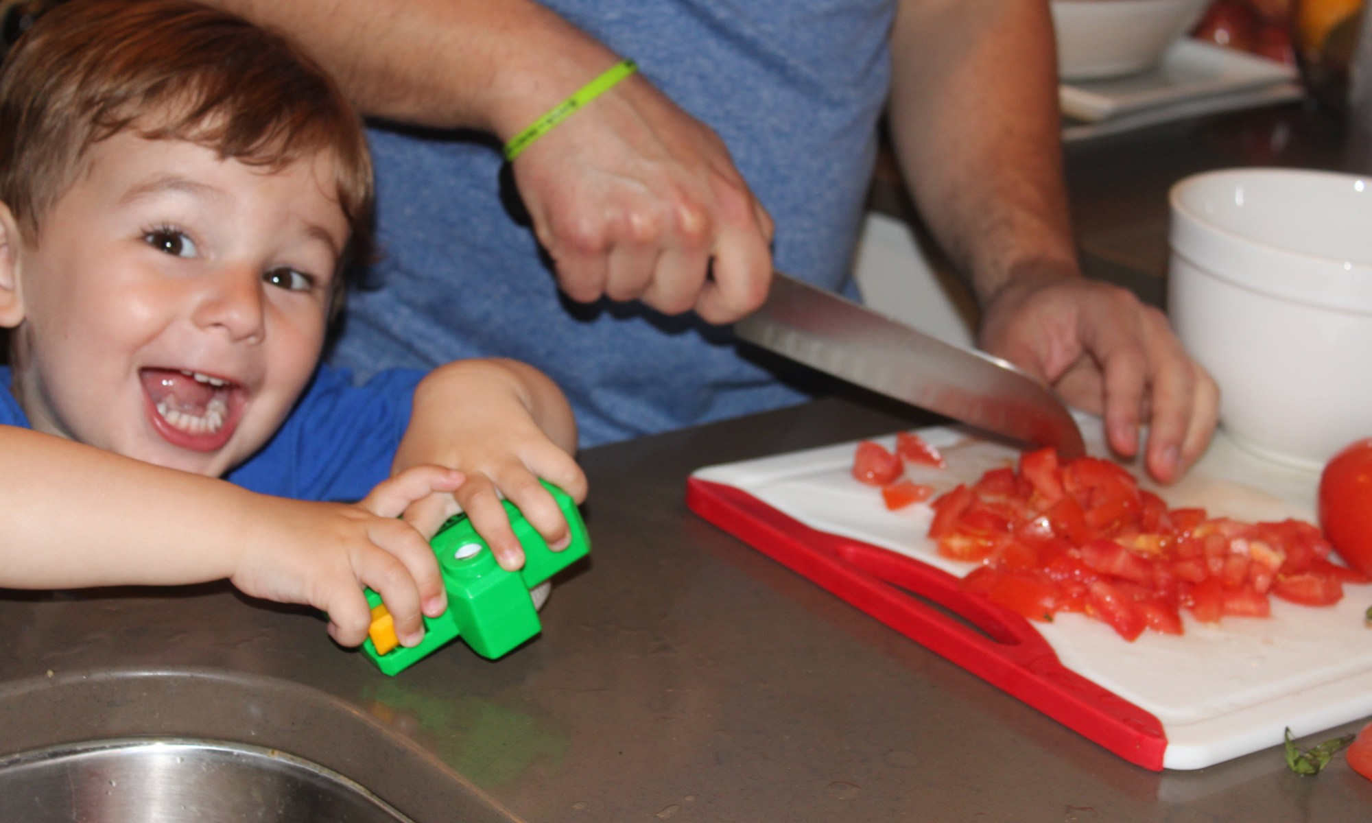 Involving our picking toddler in cooking to help meal time